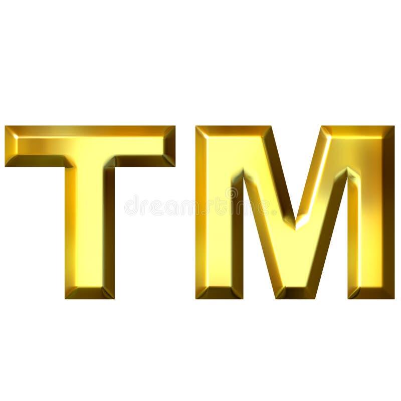 3D Gouden Symbool van het Handelsmerk stock illustratie