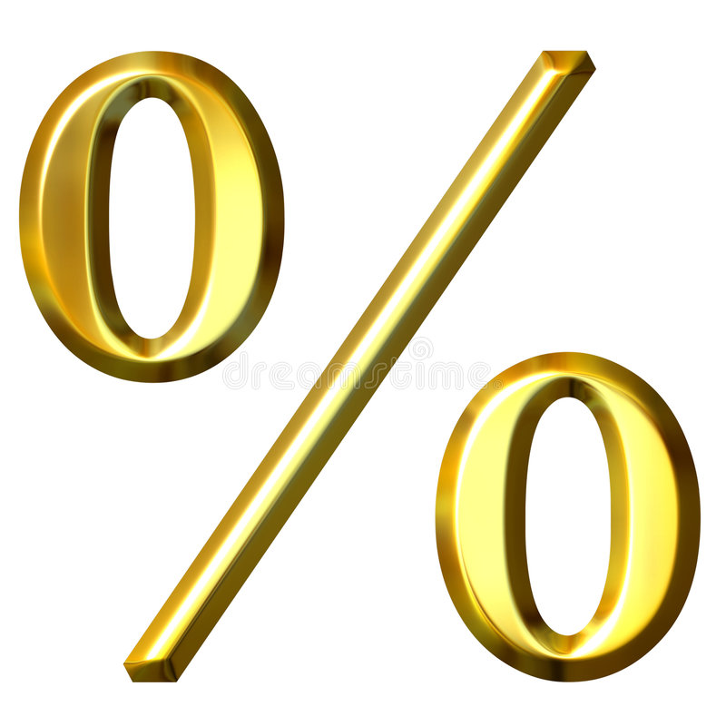 3d Gouden Symbool van het Percentage royalty-vrije illustratie