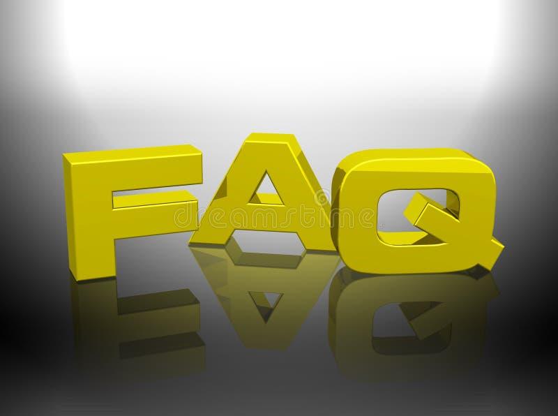 3D gouden teruggevend woord FAQ royalty-vrije illustratie