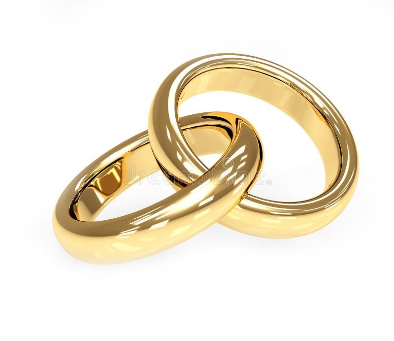 3d gouden trouwring twee vector illustratie