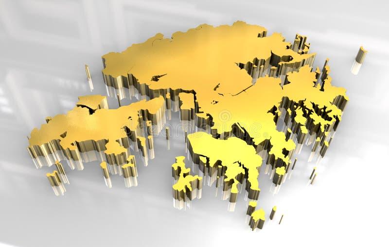 3d gouden vlag van Hongkong royalty-vrije illustratie