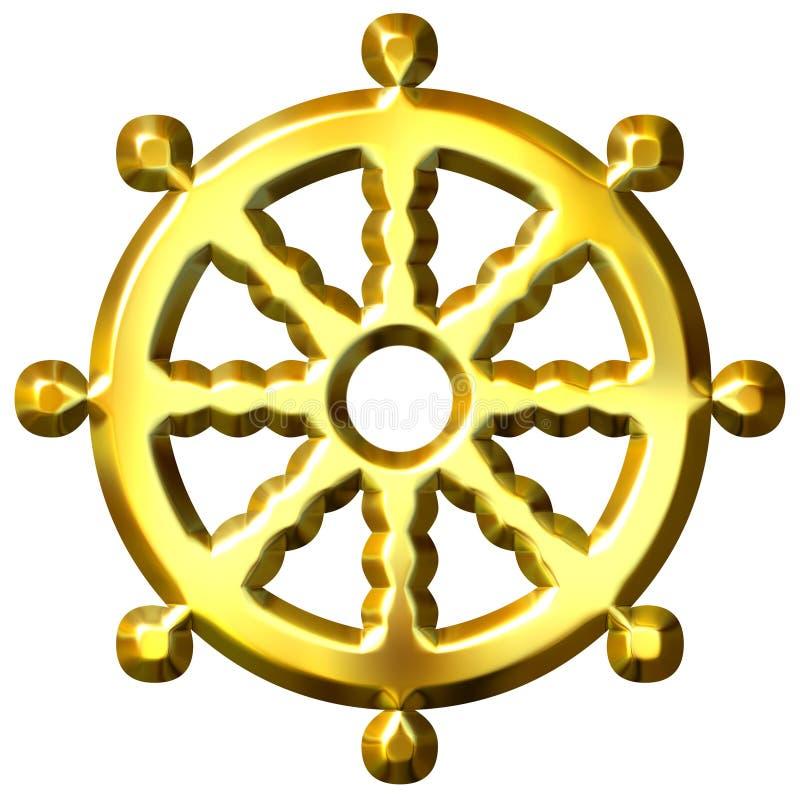 3D Gouden Wiel van het Symbool van het Boeddhisme van Dharma stock illustratie
