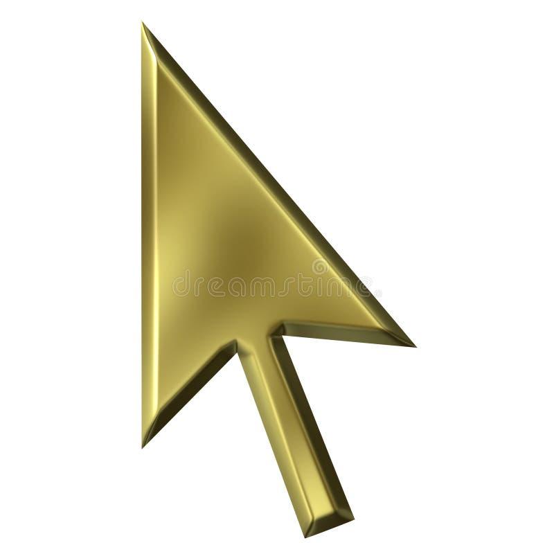 3D Gouden Wijzer van de Muis vector illustratie