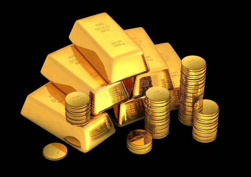 3d goudstaven en muntstukken royalty-vrije illustratie
