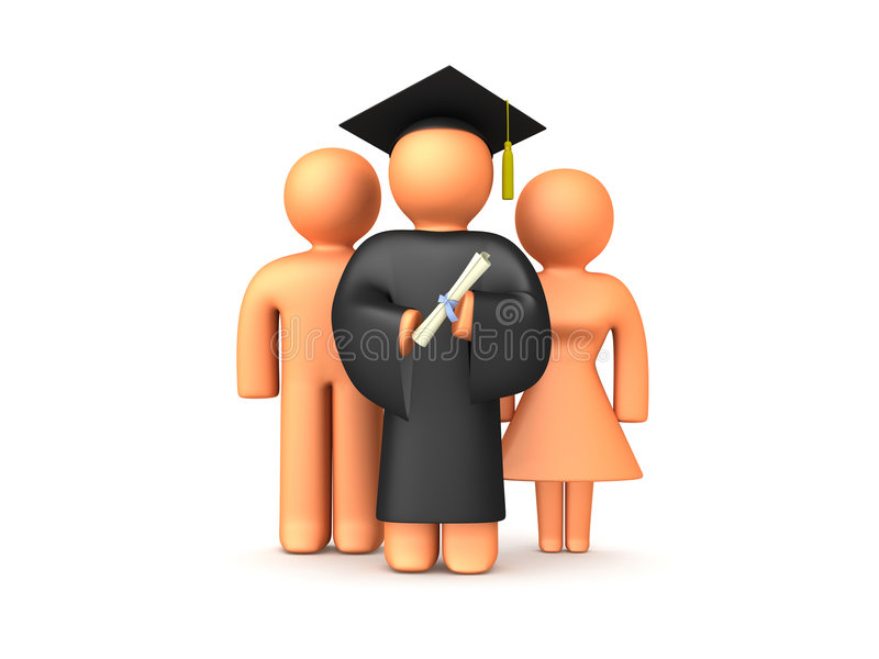 3D Graduation with Parents royalty free illustration