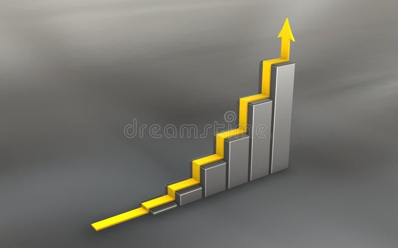 3d grafiek van het chroom met gele pijl royalty-vrije illustratie