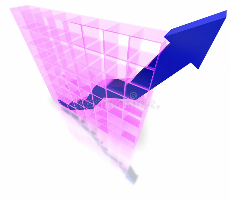 3D graph. Showing increasing profits isolated on white