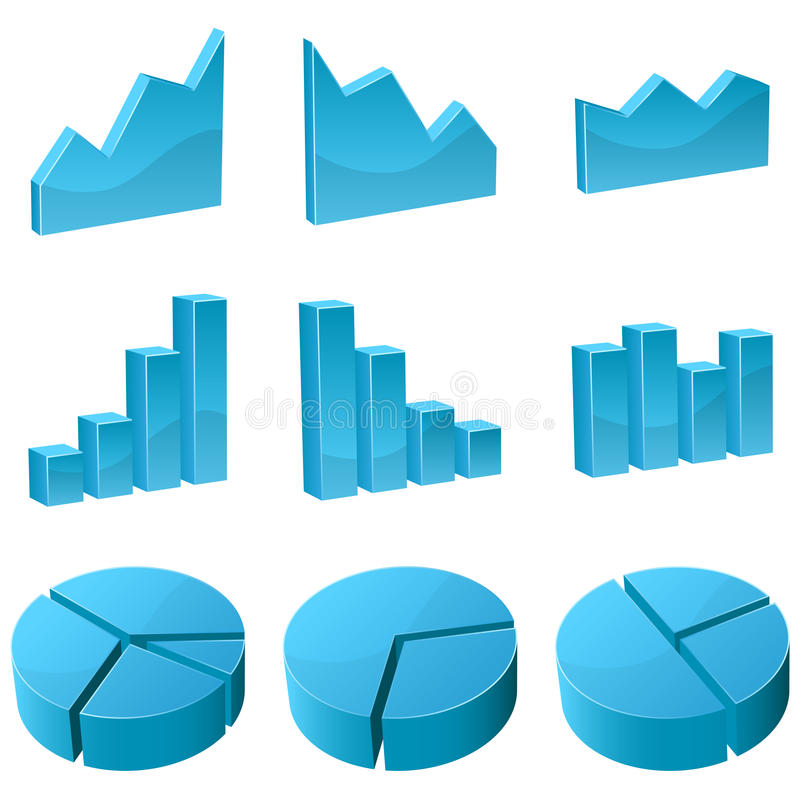 Download 3D graph icons stock vector. Image of business, data - 11246658