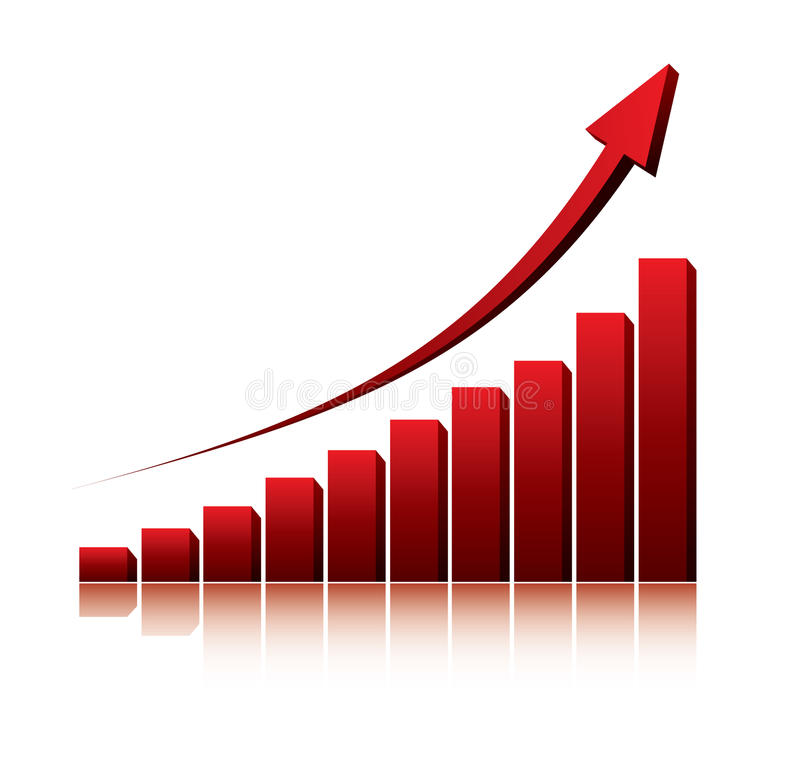 3d graph showing rise in profits or earnings vector illustration