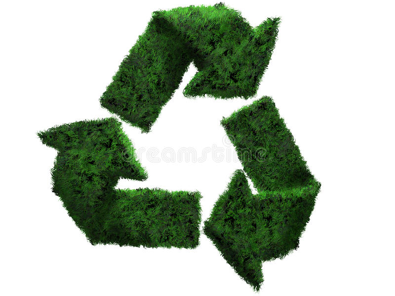 3D grass recycle symbol vector illustration
