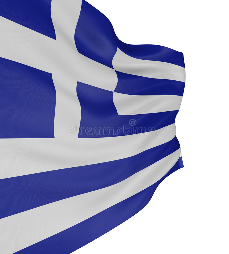 3D Greek flag. With fabric surface texture. White background