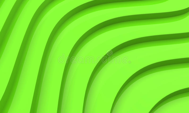 3D green abstract. 3D abstract of multiple rows of green wavy lines royalty free illustration