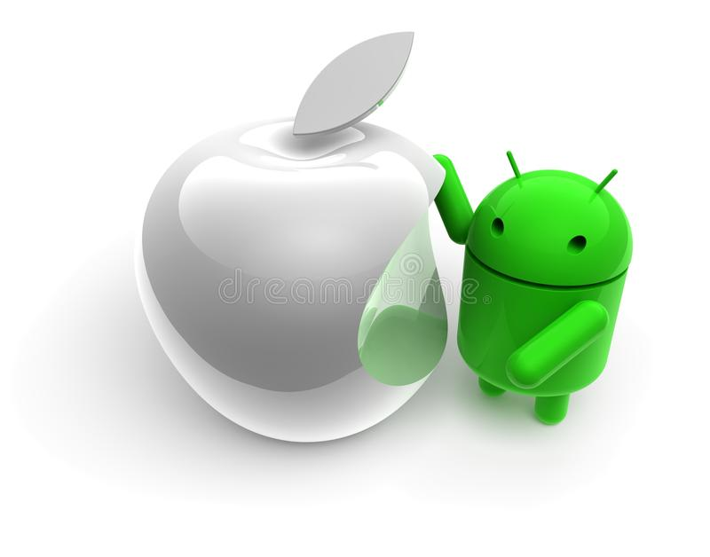 3D green android caricature. With apple on white background stock illustration
