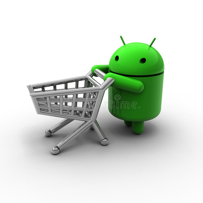 3D Green Android Shopping Caricature Editorial Photography
