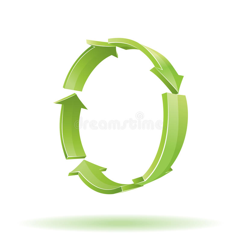 3d green arrows. Recycle sign. 3d greenl arrows for your business presentation or artwork vector illustration