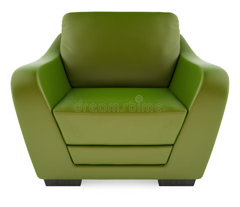 3D green chair on a white background stock photography