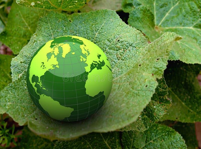 3d green globe on a leaf royalty free illustration