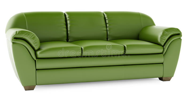 3D green sofa on a white background stock illustration
