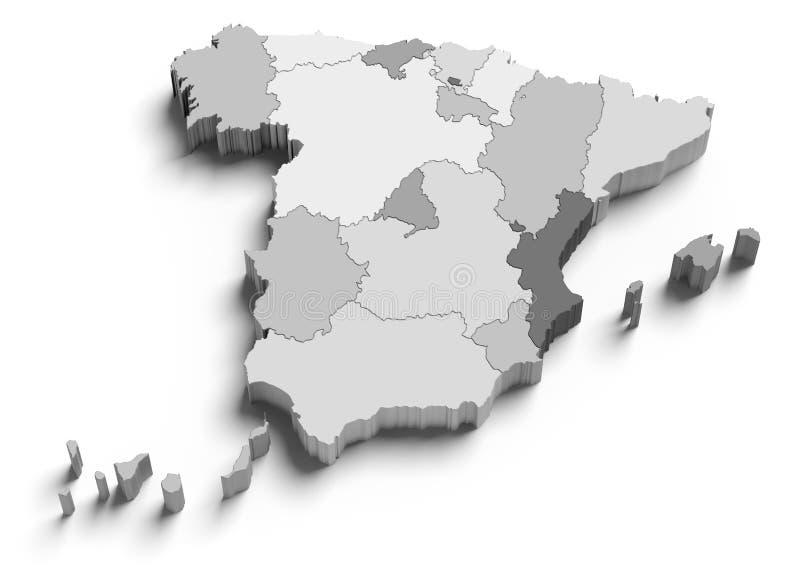 3d grey mapy Spain biel ilustracja wektor