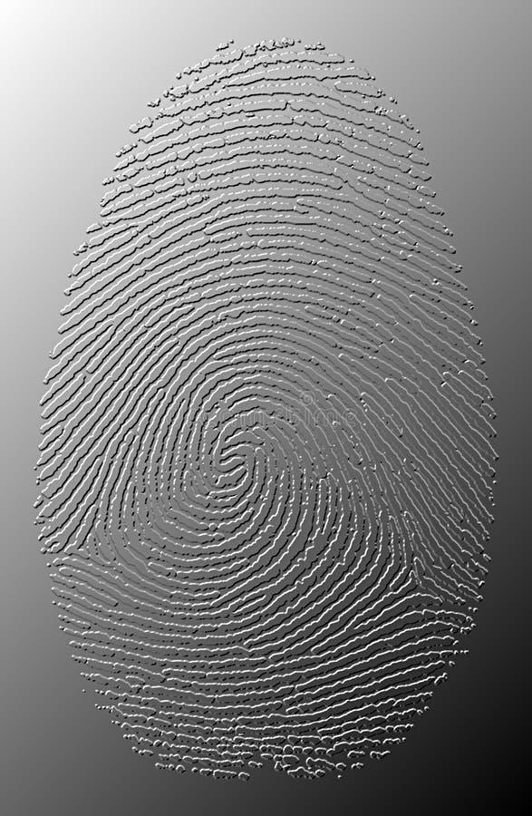 3D Grey Oily Fingerprint On Metal Stock Images