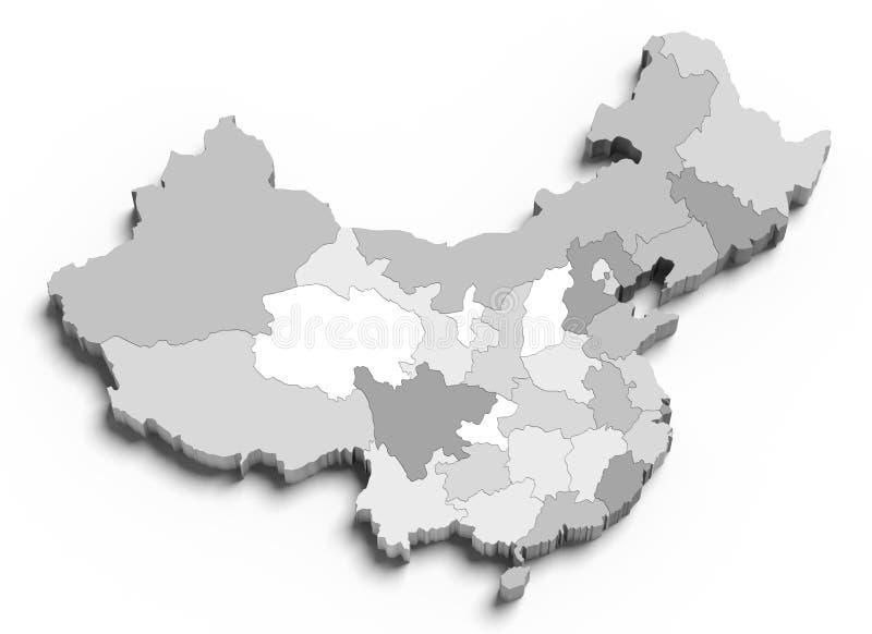 3d grijze kaart van China op wit royalty-vrije illustratie