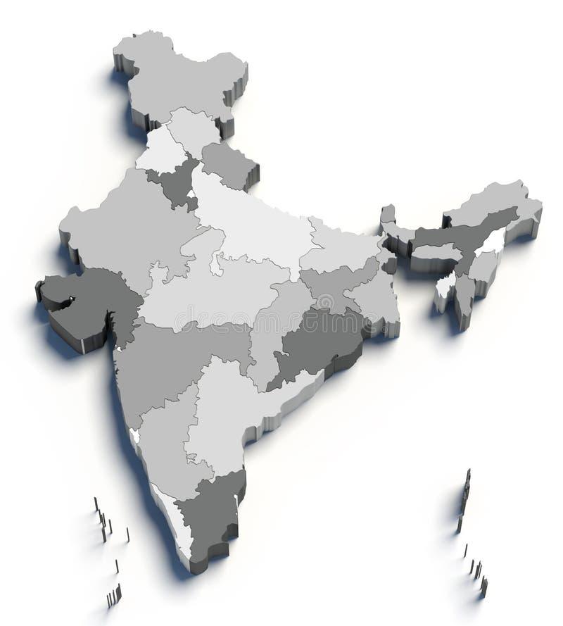 3d grijze kaart van India op wit vector illustratie