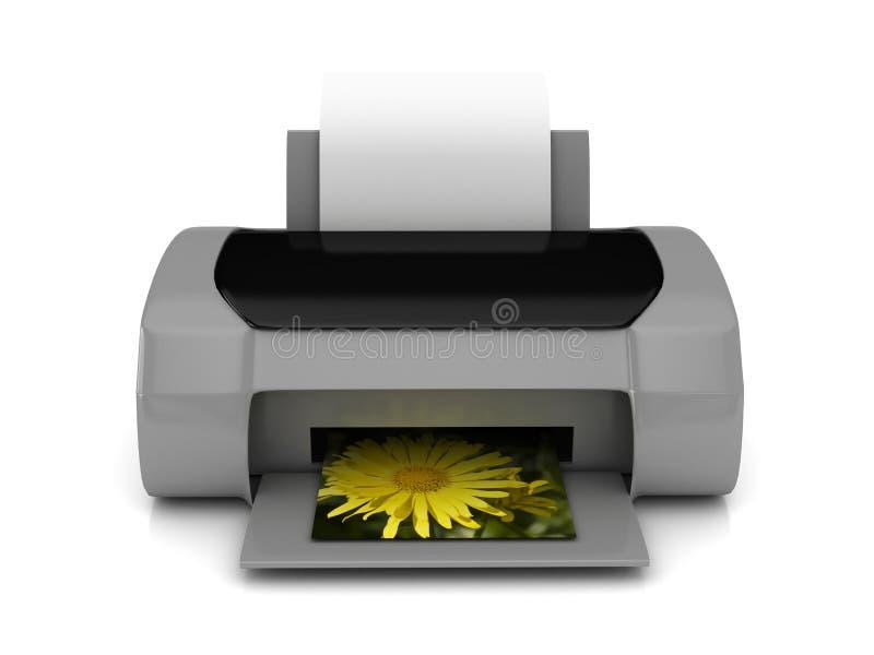 3d grijze printer over wit stock illustratie