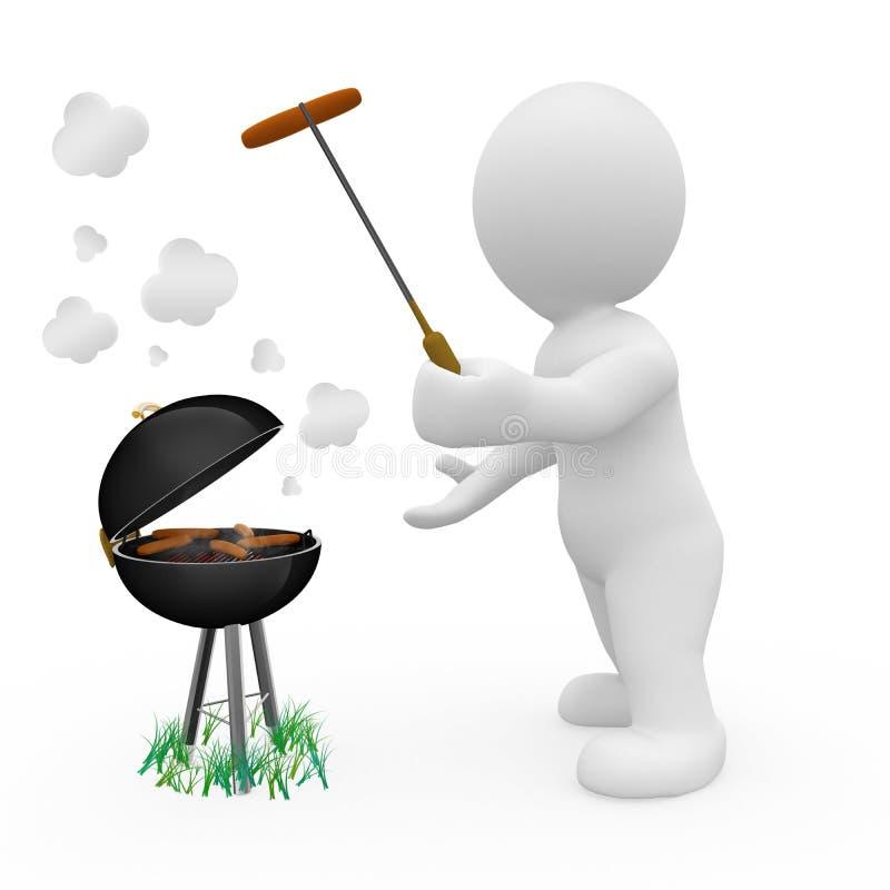 3d grilla charakteru kulinarny jedzenie ilustracji