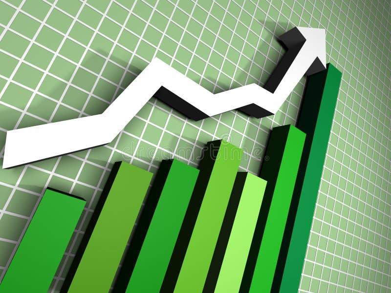 3d groen Diagram met pijl vector illustratie