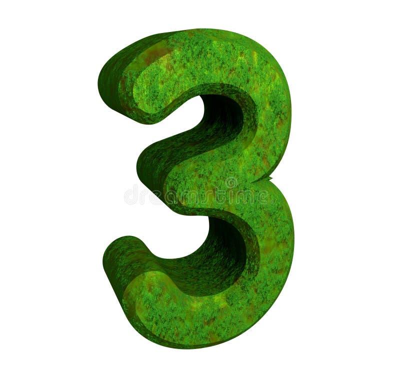 3d groen nummer 3 stock illustratie