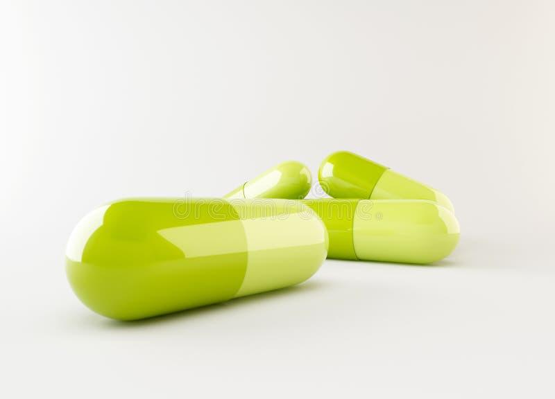 3d groene capsule royalty-vrije illustratie