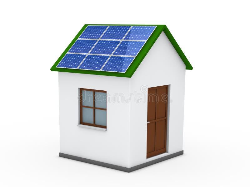 3d groene huis zonne-energie stock illustratie