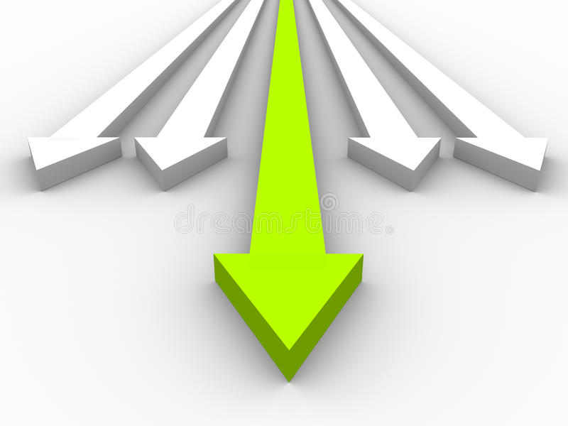 3D groene leiderspijl stock illustratie