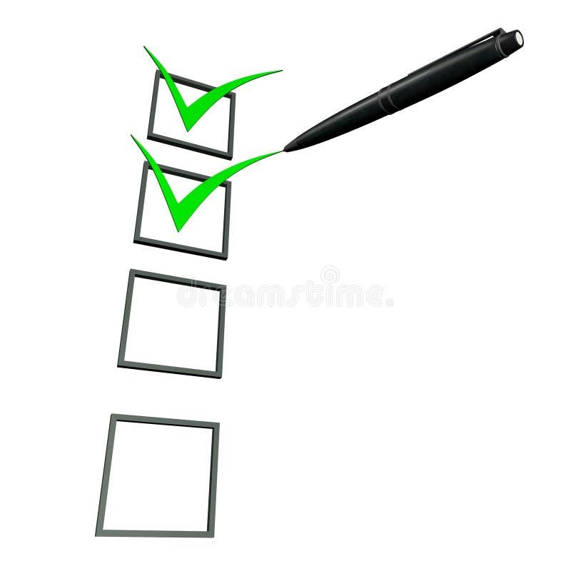 3d groene pen van de controledoos stock illustratie