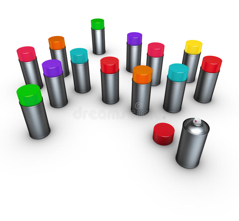 Download 3d Group Of Spray-cans Different Colors On White Stock Illustration - Image: 19565487