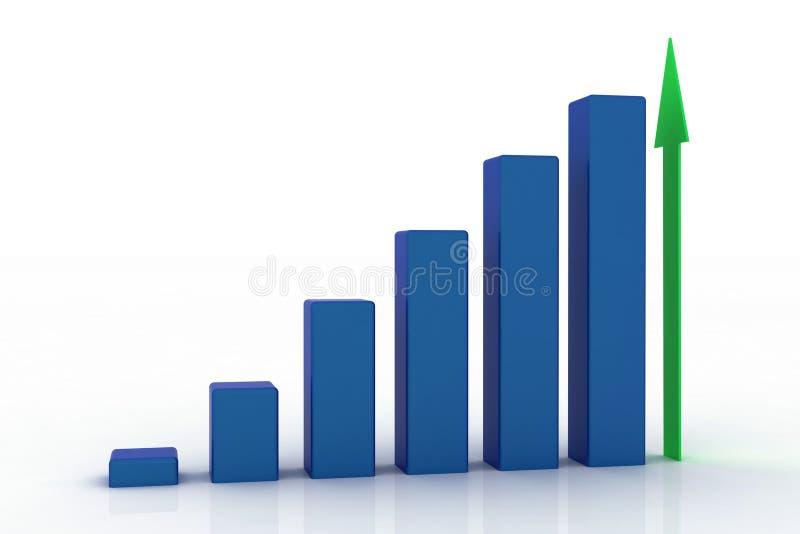 3d growing business graph vector illustration