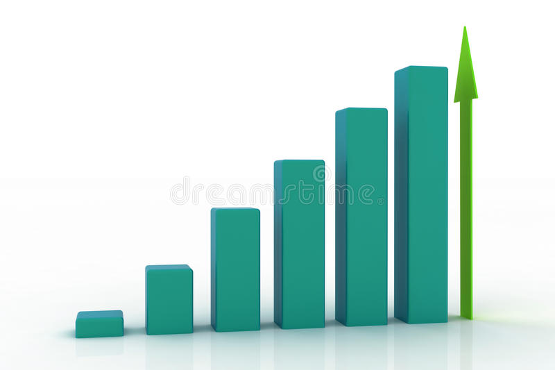 3d growing business graph stock illustration