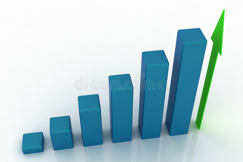 3d growing business graph royalty free illustration