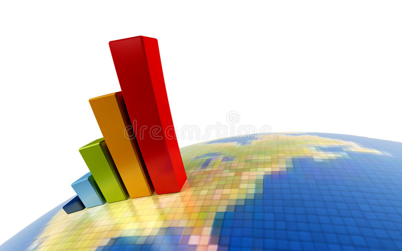 3d growth chart. 3d rendering of the growth chart on symbolic Earth image