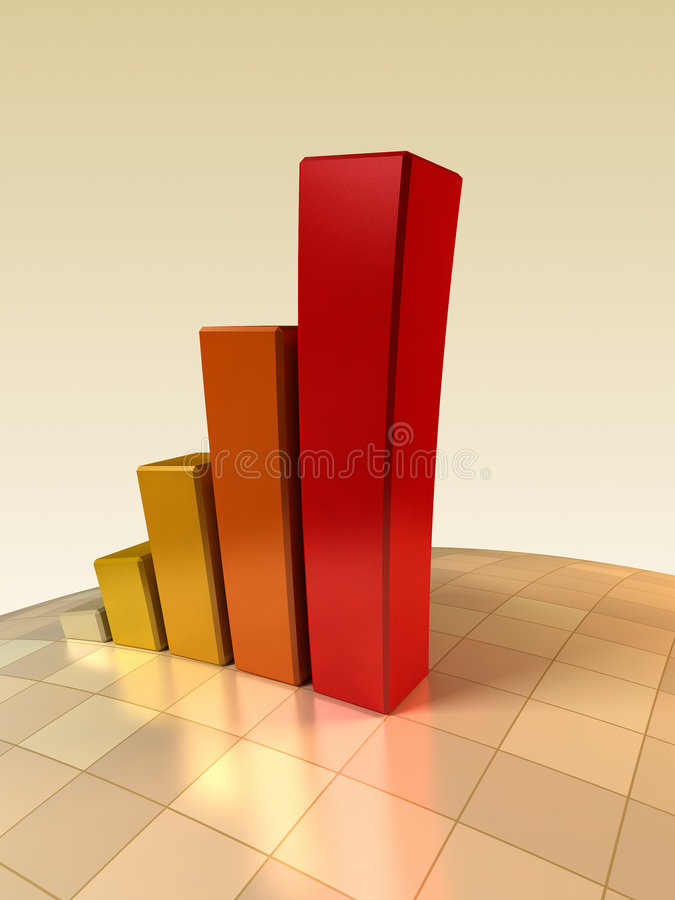 3d growth chart. 3d rendering of the growth chart stock illustration