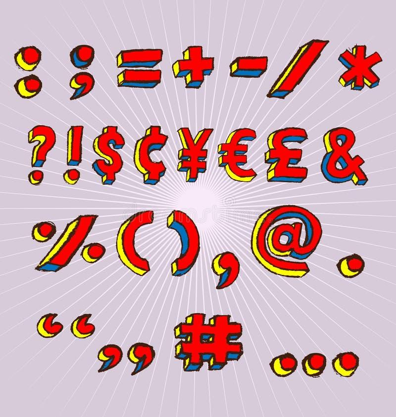 3d grunge符号 库存例证
