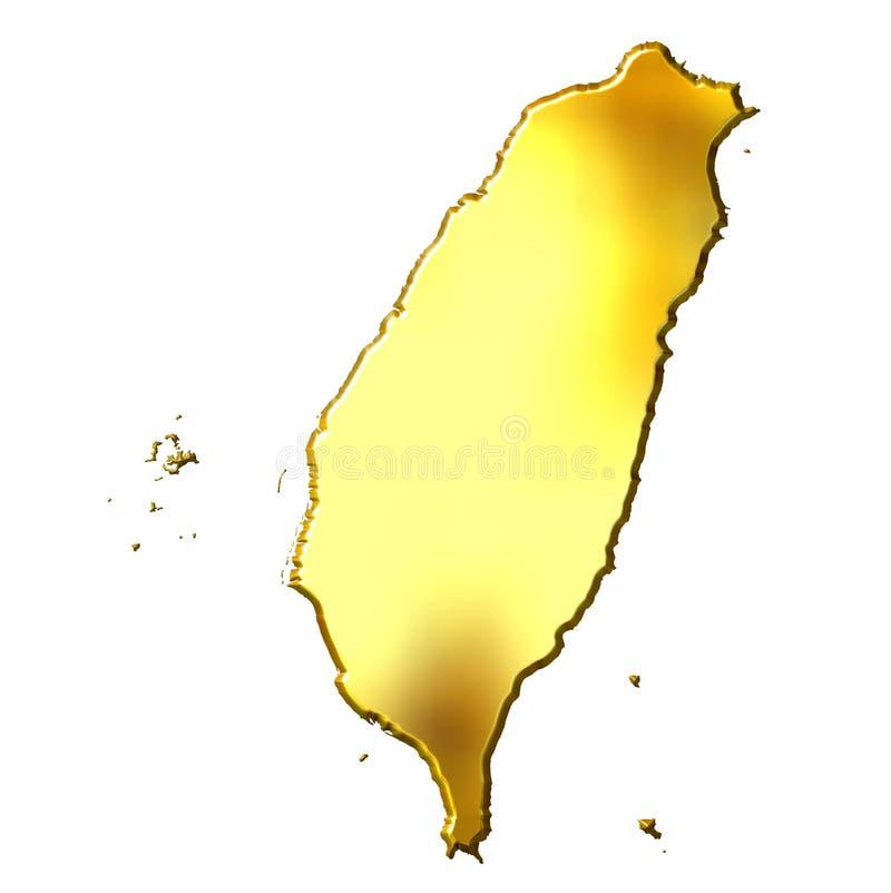 3d guld- översikt taiwan stock illustrationer