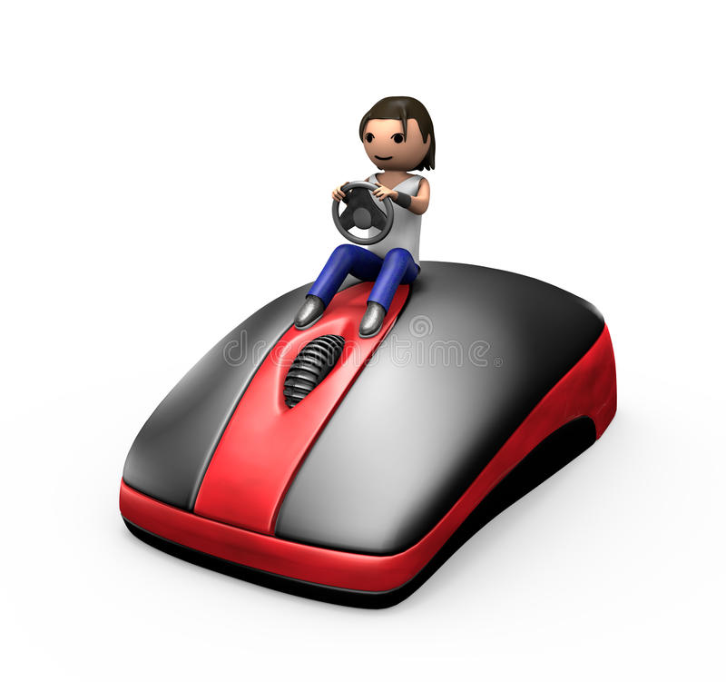 3d Guy Driving a PC Mouse. 3d Young Male Driving a PC Mouse like a Car vector illustration