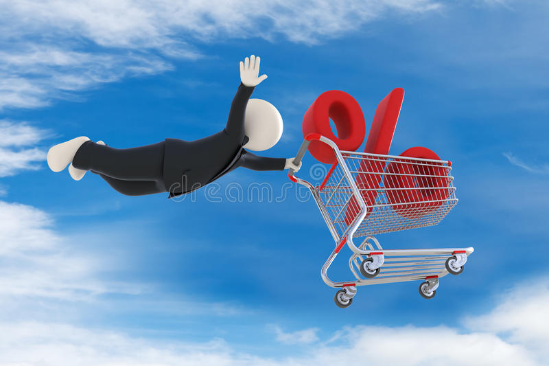 3d guy flying with shopping cart and percent sign. 3d business man flying high up in the sky with shopping cart and percent sign - Discount concept royalty free illustration