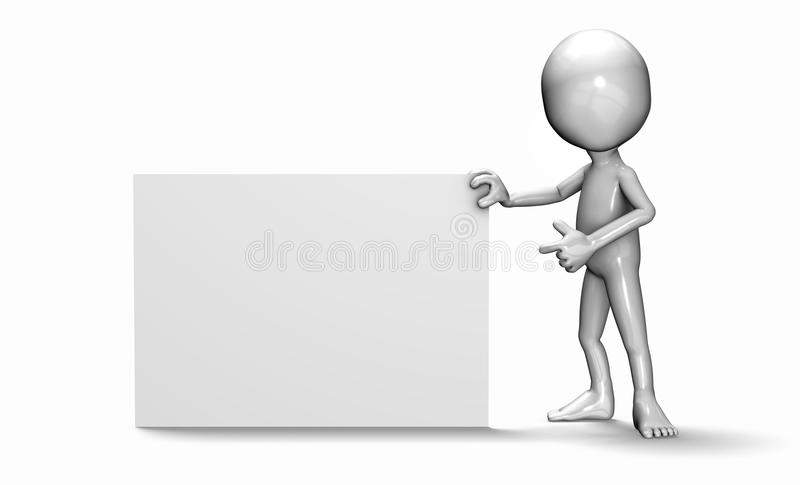 The 3d guy pointing at a card vector illustration