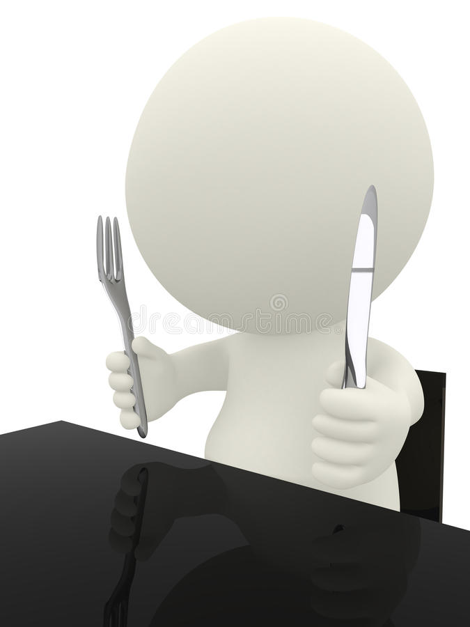Download 3D guy ready to eat stock illustration. Image of fork - 18520162