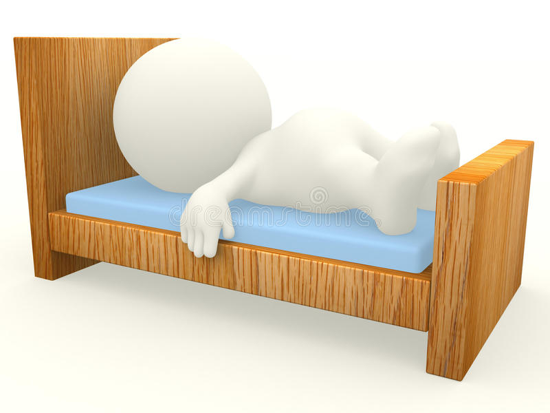 Download 3D guy sleeping stock illustration. Image of wooden, rendered - 19616246