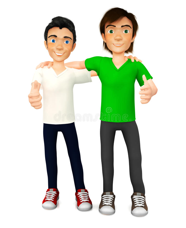 3D guys with thumbs up