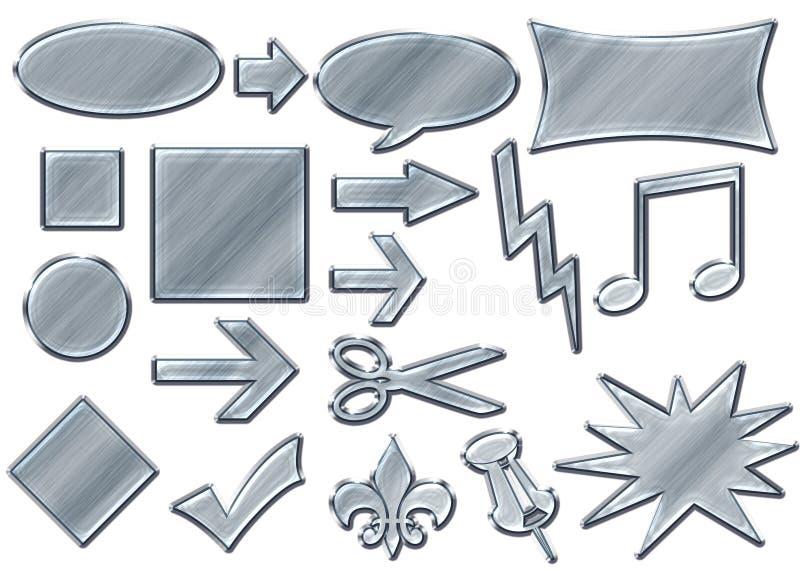 3d guzików chromu srebro ilustracja wektor
