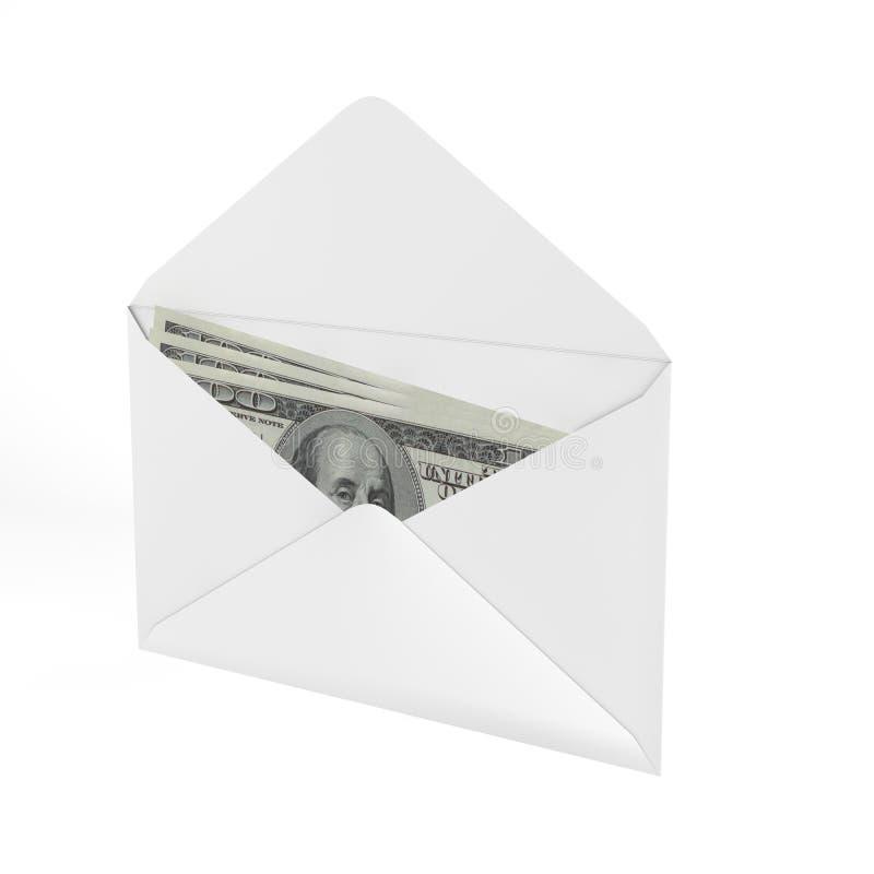 3d ha reso la busta con i soldi. fotografia stock